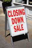 Closing down sign. Outside a shop during the recent recession Royalty Free Stock Photography