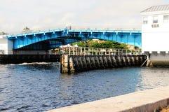 Closing drawbridge, marina & boats, South Florida Royalty Free Stock Photography