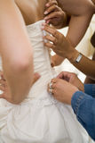 Closing the dress royalty free stock photo