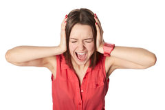 Closing ears with hands and screaming, isolated on white Royalty Free Stock Photography