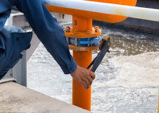 Closing gas pipe about wastewater treatment plant in Thailand Stock Photo