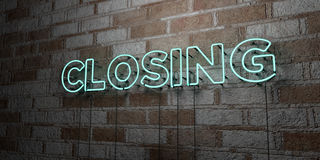 CLOSING - Glowing Neon Sign on stonework wall - 3D rendered royalty free stock illustration. Can be used for online banner ads and direct mailers Royalty Free Stock Image