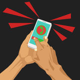Closing incoming call at smart phone Stock Photography