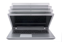 Closing laptop  on white background Stock Images