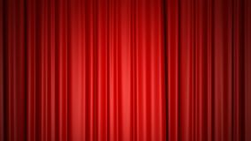 Closing and opening shiny red silk curtains on stage. 3D animation with chroma key.