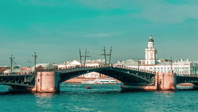 Closing Palace Bridge On The Neva River stock video footage