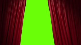Closing red curtain with a title