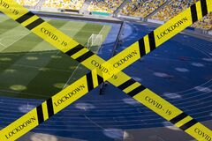Free Closing Sports Arena Areas For Visiting Dangerous Tapes Or Warning Tapes. Royalty Free Stock Images - 183263739