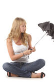 Closing umbrella stock images