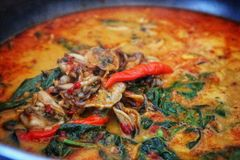 The closing up and soft focusing picture of steam and Gaengkua& x27;s pot, a kind of Thai dish,. Featuring coconut milk, mussels, Thai herbs, and chillies Royalty Free Stock Photo
