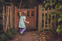 Closing the wooden gates Stock Image