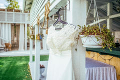 Closseup beadwork decorated wedding dress Royalty Free Stock Images