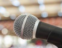 Closuep av en mikrofon Arkivfoto