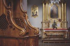 Closup confessionnel en bois Photographie stock
