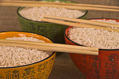 Closup de bacias de arroz Foto de Stock Royalty Free