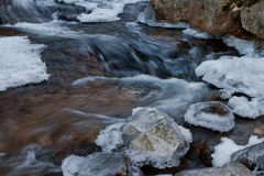 Closup eines gefrorenen Nebenflusses während des Winters Lizenzfreies Stockbild