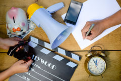 Closup picture on planning to make movie with Royalty Free Stock Photo