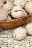 Closup of a walnuts in a bowl. Closup of a walnuts in a bow with copy space Royalty Free Stock Photos