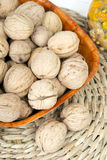 Closup of a walnuts in a bowl. Copy space Royalty Free Stock Photos