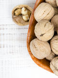 Closup of a walnuts in a bowl. Copy space Royalty Free Stock Images
