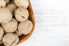 Closup of a walnuts in a bowl. Copy space Royalty Free Stock Image