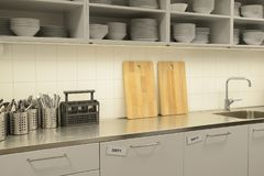 Closup of a kitchen. Closup of a white and shinging kitchen Royalty Free Stock Photo