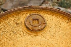 Closure of the barrel, rusty barrel lid. Royalty Free Stock Images