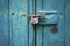Closure of Old Wooden Door Royalty Free Stock Image