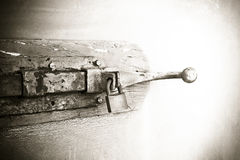 Closure of an old wooden door - safety concept image Stock Photography