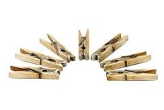 clotespins few som är trä arkivfoto