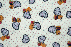 Cloth. A cloth paintings with baby drawing, bear and heart Royalty Free Stock Images