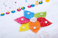 Cloth. White cloth with colorful floral embroidery works Stock Photo