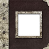 Cloth album cover with an iron rootlet and frame for photo Royalty Free Stock Photography