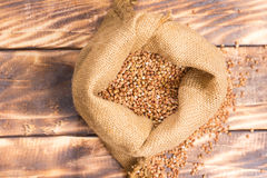 Cloth bag with buckwheat groats Royalty Free Stock Photo