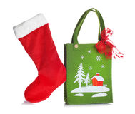Cloth bag with Christmas decorations Stock Image