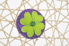 Cloth brooch cloverleaf. Cloth fashion brooch Stock Photo