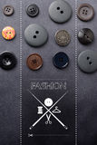 Cloth buttons background with logo Royalty Free Stock Photo