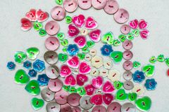 Cloth Buttons in different colors and shapes Royalty Free Stock Photography