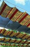 Cloth ceilings with Indian art. The cloth ceilings that have Indian drawing patterns and art of Indian American stock images