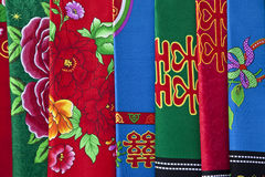 Cloth with chinese design. Bedclothes with traditional Chinese design Royalty Free Stock Image