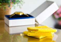 Cloth for cleaning watches. Royalty Free Stock Photo