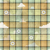 Cloth with clouds and rain. Illustration of a pale  green and yellow cloth covered in small squares decorated with a few  tiny white roses and clouds with Stock Photo