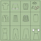 Cloth collection - vector silhouette Stock Photo