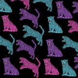 Cloth, colorful Panthers with black background, vintage, colors pop art. Stock Photos