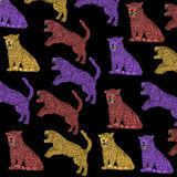 Cloth, colorful Panthers with black background, vintage, colors pop art. Stock Images