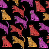 Cloth, colorful Panthers with black background, vintage, colors pop art. Royalty Free Stock Photo