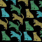 Cloth, colorful Panthers with black background, vintage, colors pop art. Stock Photography