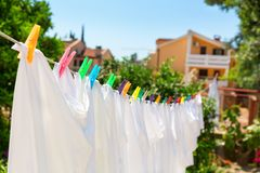 Cloth with colorful pins Royalty Free Stock Photos