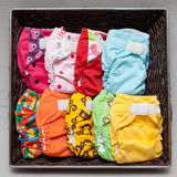 Cloth diapers in the basket Royalty Free Stock Photo