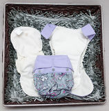 Cloth diapers in the basket Stock Image